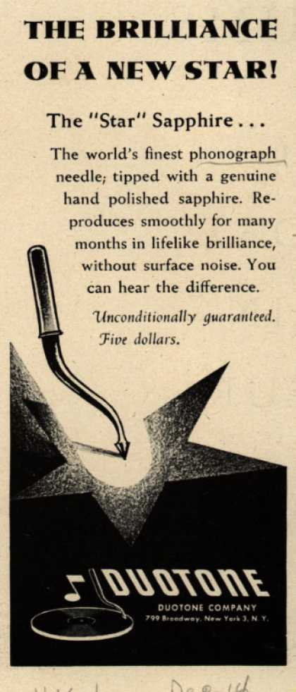 Duotone Company's Star Sapphire (phonograph needle) – The Brilliance of a New Star (1946)
