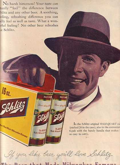 16 oz cans of Schlitz (1955)