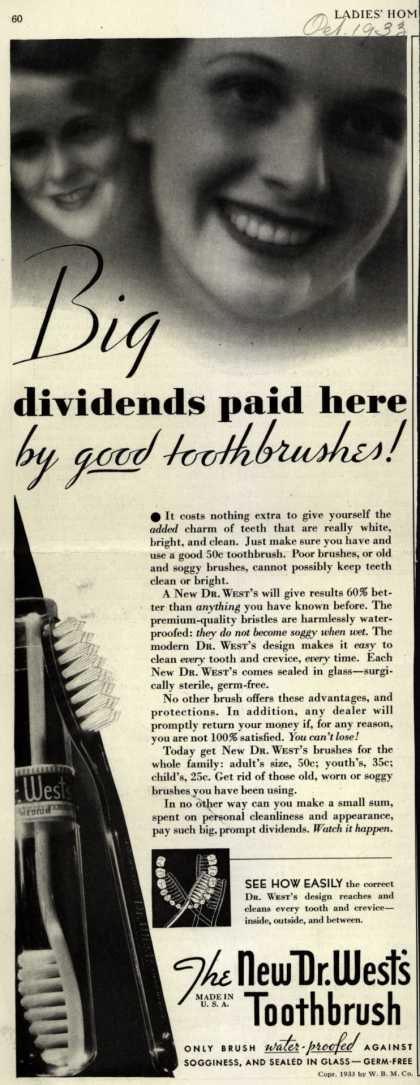 Dr. West's – Big dividends paid here by good toothbrushes (1933)