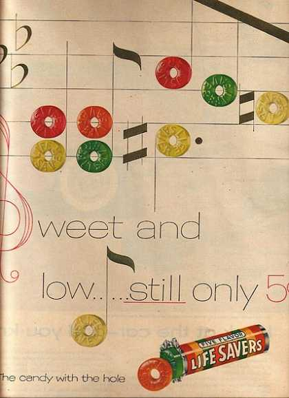 "Lifesaver's ""Sweet and low...still only 5 cents"" (1955)"