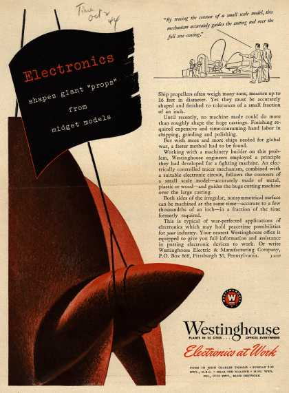 "Westinghouse Electric & Manufacturing Company's Electronics – Electronics Shapes Giant ""Props"" From Midget Models (1944)"