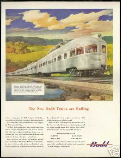 Burlington Lines Train Railroad Ragan Art Budd (1947)