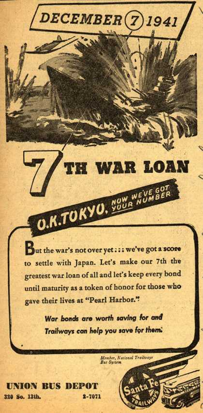 Santa Fe Trailway's War bonds – December 7, 1941 7th War Loan O.K. Tokyo, Now We've Got Your Number (1945)