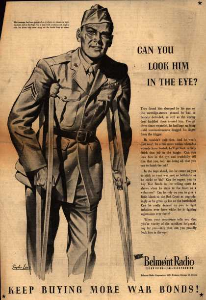 Belmont Radio Corporation's War Bonds – Can You Look Him In The Eye? (1943)