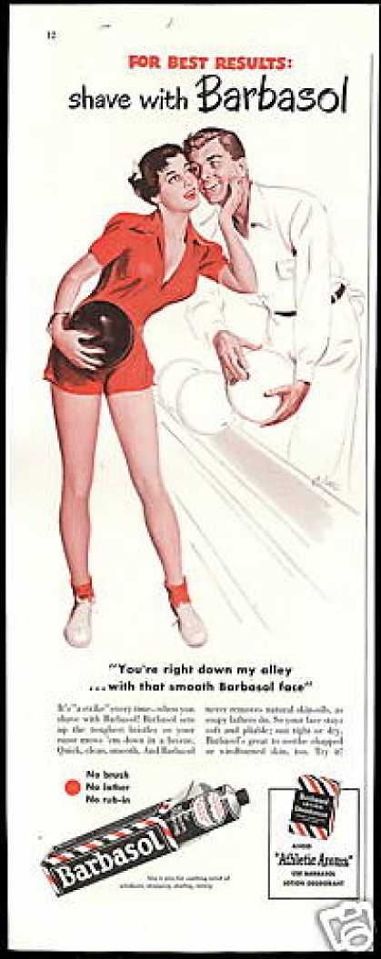 Pretty Bowler Bowling Ball Barbasol (1949)