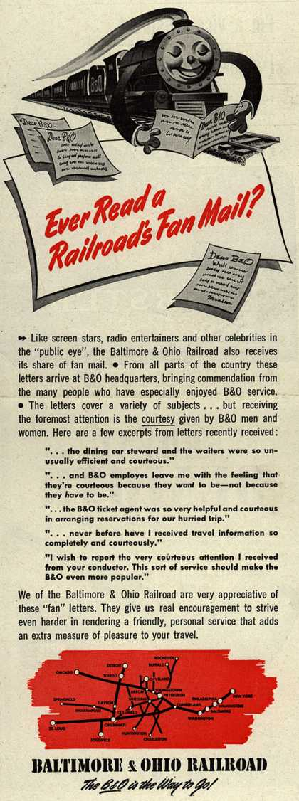 Baltimore & Ohio Railroad's courtesy of the workers – Ever Read a Railroad's Fan Mail? (1946)