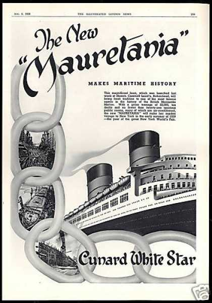 Cunard New Mauretania Ship Maiden Voyage UK (1938)
