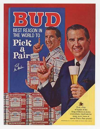 Ed McMahon Photo Bud Budweiser Beer Pick a Pair (1967)