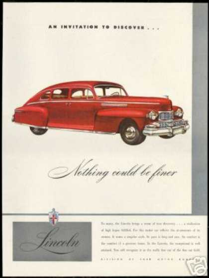 Red Lincoln 4 Dr Vintage Print Car (1947)