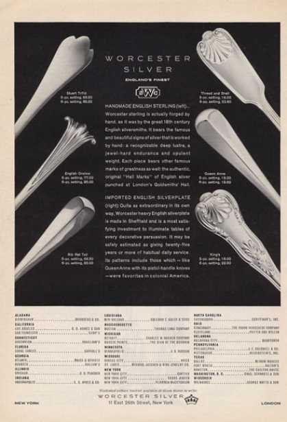 Worchester Silver Features Six Styles (1965)