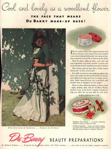 Richard Hudnut's Various – Cool and lovely as a woodland flower The Face That Wears DuBarry Make-Up Base (1940)