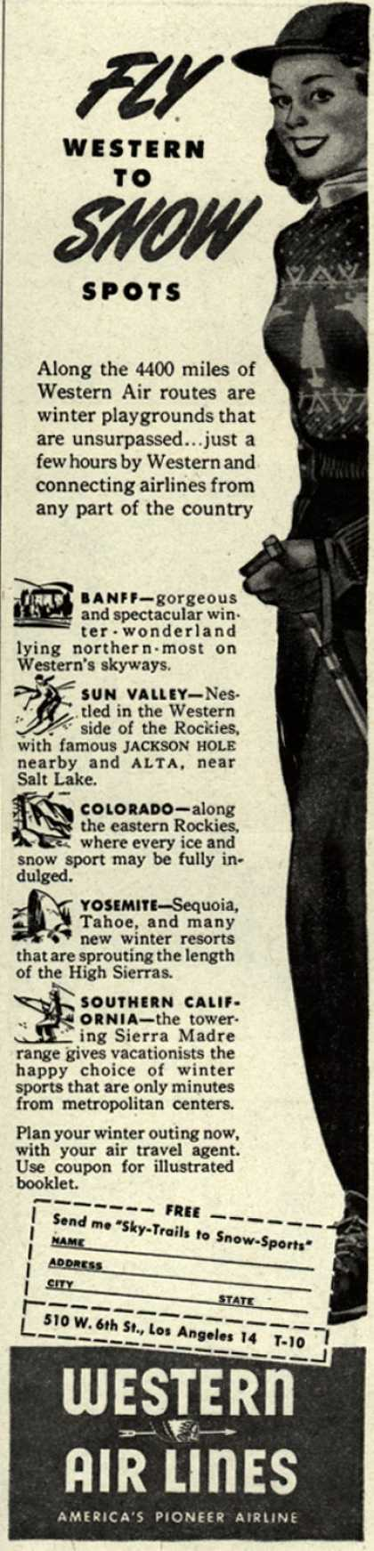 Western Air Line's Winter Sports Destinations – Fly Western to Snow Spots (1946)