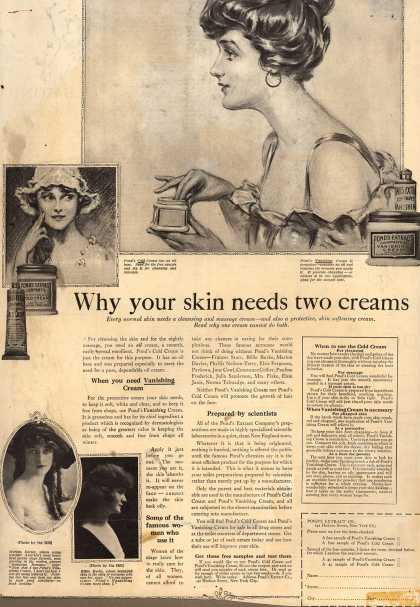Pond's Extract Co.'s Pond's Cold Cream and Vanishing Cream – Why your skin needs two creams (1917)