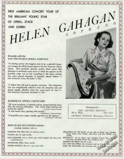 Helen Gahagan Photo Soprano Opera Stage Screen (1936)