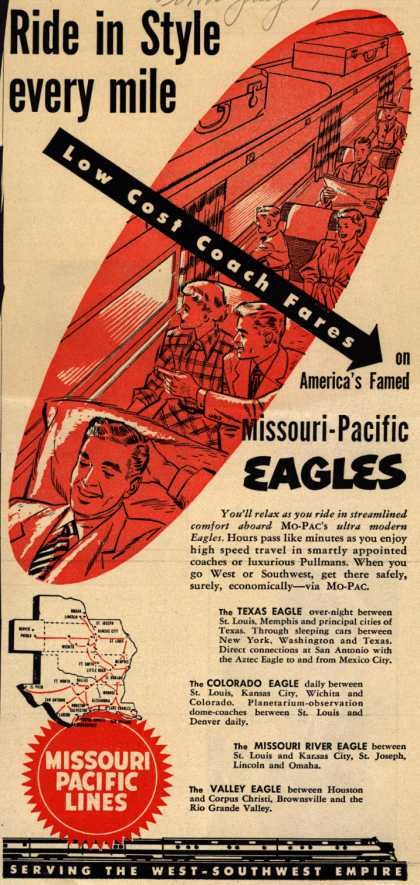 Missouri Pacific Line's Missouri Pacific Eagles – Ride in Style every mile (1950)