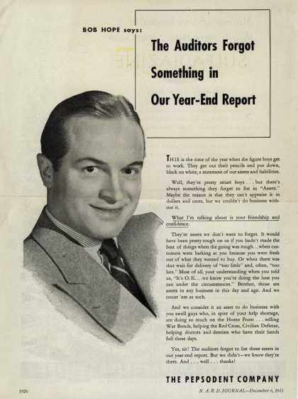 Pepsodent Company's tooth paste – The Auditors Forgot Something in Our Year-End Report (1943)