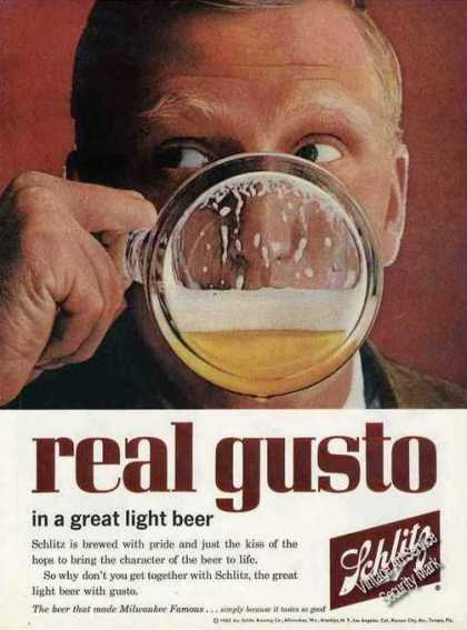 "Schlitz Beer ""Real Gusto"" Bottoms Up Beer (1962)"