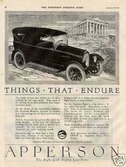 "Apperson Eight Car Ad ""Things That Endure... (1920)"