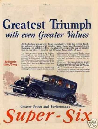 Essex Super-six Color Ad 2 Page (1927)