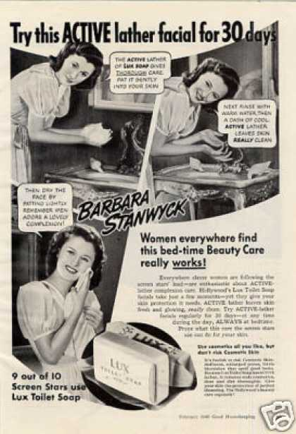 Lux Soap Ad Barbara Stanwyck (1940)