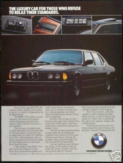 Black BMW 733i 733-i Vintage Photo Print Car (1984)