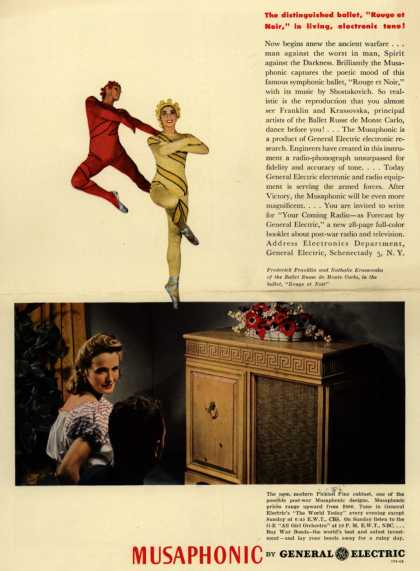 "General Electric Company's Musaphonic Radio – The distinguished ballet, ""Rouge et Noir,"" in living, electronic tone (1944)"