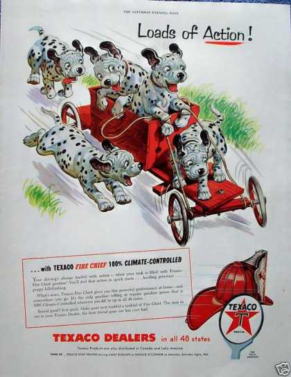 Texaco Dalmatian Puppy Soap Box Derby Car Action (1955)