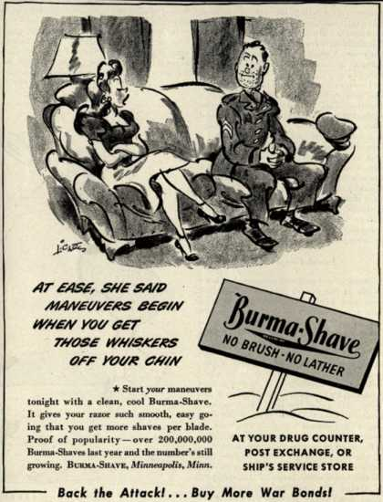 Burma-Vita Company's Burma-Shave – At Ease, She Said Maneuvers Begin When You Get Those Whiskers Off Your Chin (1944)