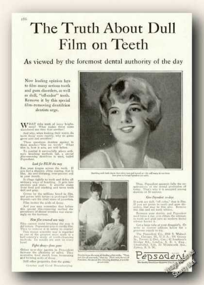 Pepsodent Toothpaste Dull Film On Teeth Antique (1928)