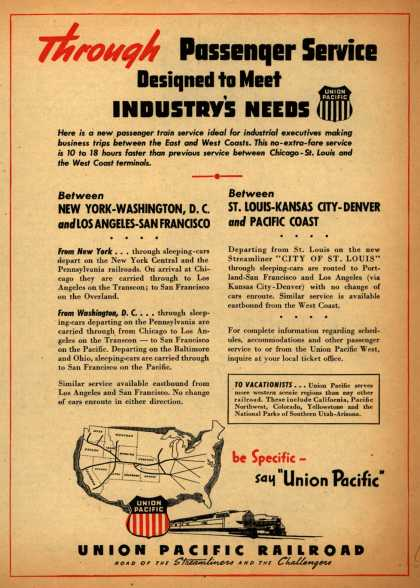 Union Pacific Railroad's Passenger Service – Through Passenger Service Designed to Meet Industry's Needs (1945)
