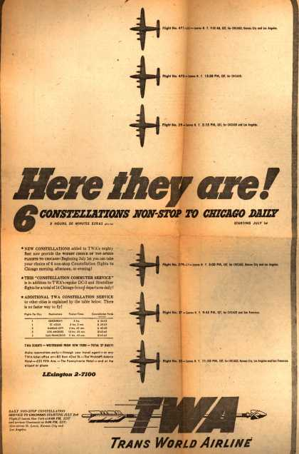 Trans World Airline's Non-Stop Chicago Flights – Here They Are! 6 Constellations Non-Stop to Chicago Daily (1947)
