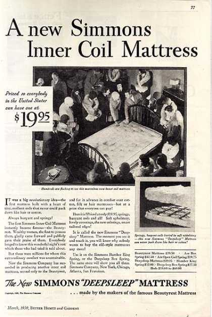 Simmon's Deepsleep Inner Coil Mattress (1930)