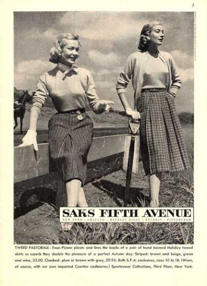 Saks Fifth Avenue Tweed Skirts Fashion (1951)