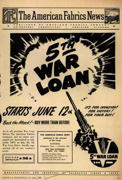 American Fabrics Company's War Bonds – 5th War Loan Starts June 12th (1944)