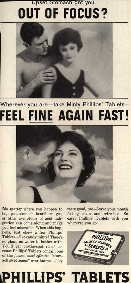 Chas. H. Phillips Chemical Co.'s Milk of Magnesia – Upset Stomach got you Out of Focus? (1958)