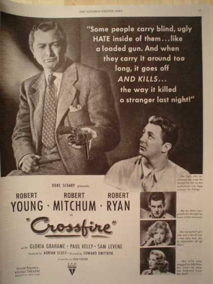 Movie Crossfire Robert Young Mitchum Ryan (1947)