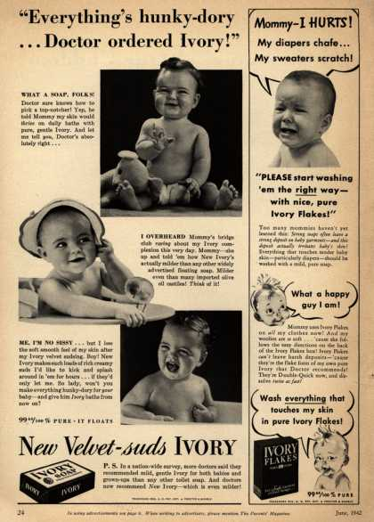 "Procter & Gamble Co.'s Ivory Soap – ""Everything's hunky-dory...Doctor ordered Ivory!"" (1942)"