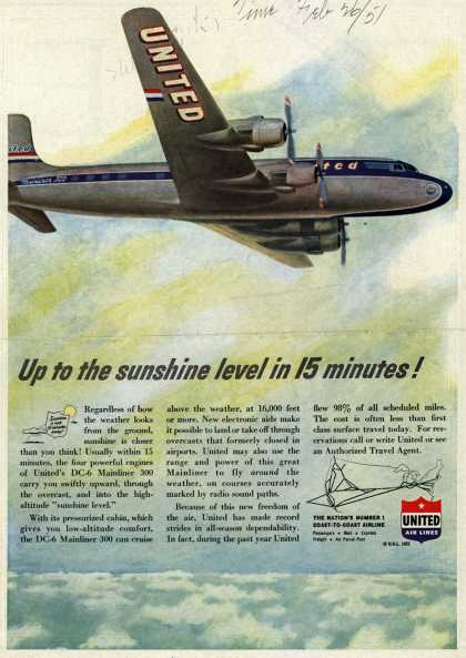 United Air Lines – Up to the sunshine level in 15 minutes (1951)