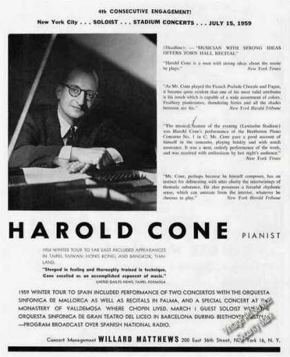 Harold Cone Photo Pianist Booking (1959)