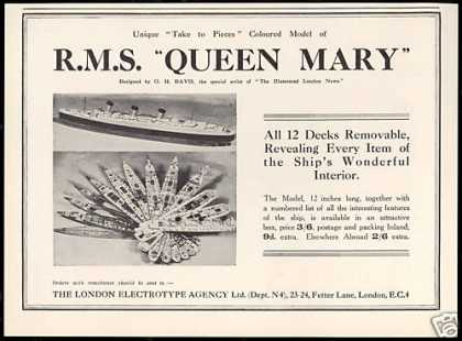 RMS Queen Mary Cruise Ship Model Vintage (1938)