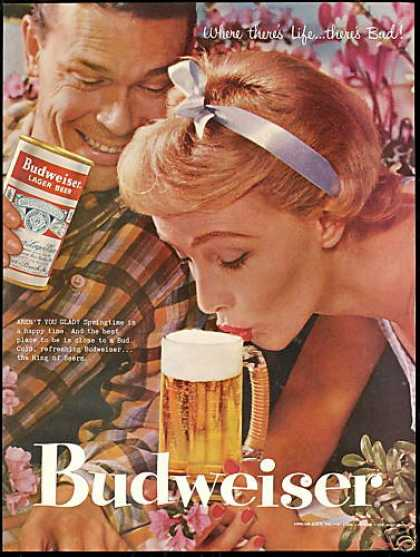 Budweiser Beer Can Photo Pretty Redhead (1957)