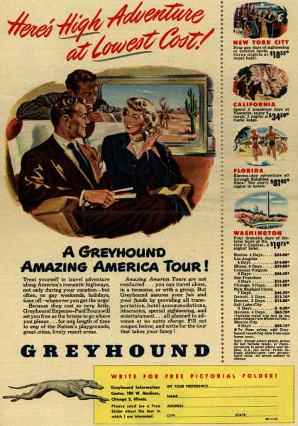 Greyhound's Amazing America tour – Here's High Adventure at Lowest Cost (1950)