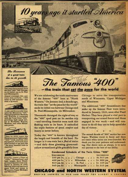 "Chicago and North Western System's The Famous 400 – 10 years ago it startled America The Famous ""400"" (1945)"