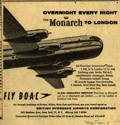 British Overseas Airways Corporation's London – OVERNIGHT EVERY NIGHT THE MONARCH TO LONDON (1954)