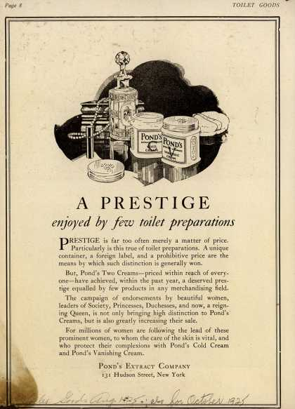 Pond's Extract Co.'s Pond's Cold Cream and Vanishing Cream – A prestige enjoyed by few toilet preparations (1925)