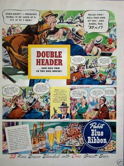 Pabst Blue Ribbon Beer Baseball Double Header (1942)