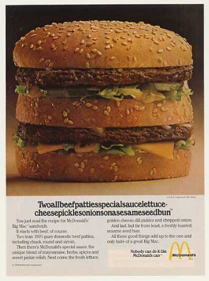 McDonald's Big Mac Two All Beef Patties Photo (1979)