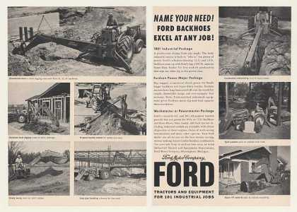 Ford Backhoes 1801 601 801 Tractors 2-Page (1960)