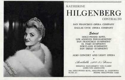 Katherine Hilgenberg Contralto Booking (1960)
