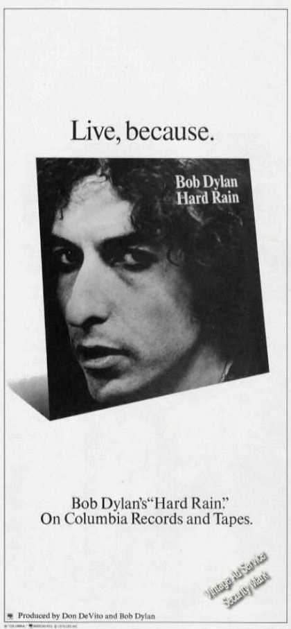 Bob Dylan Photo Rare Hard Rain Album (1976)